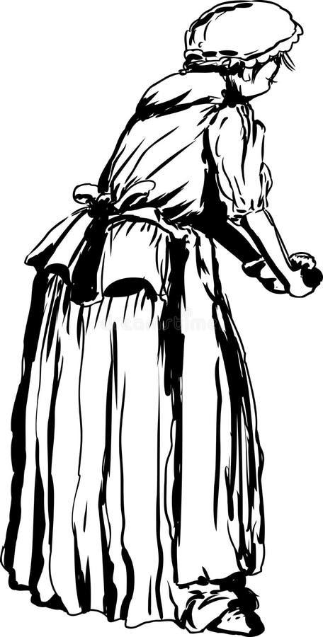 妇女揉的面团概述 库存例证
