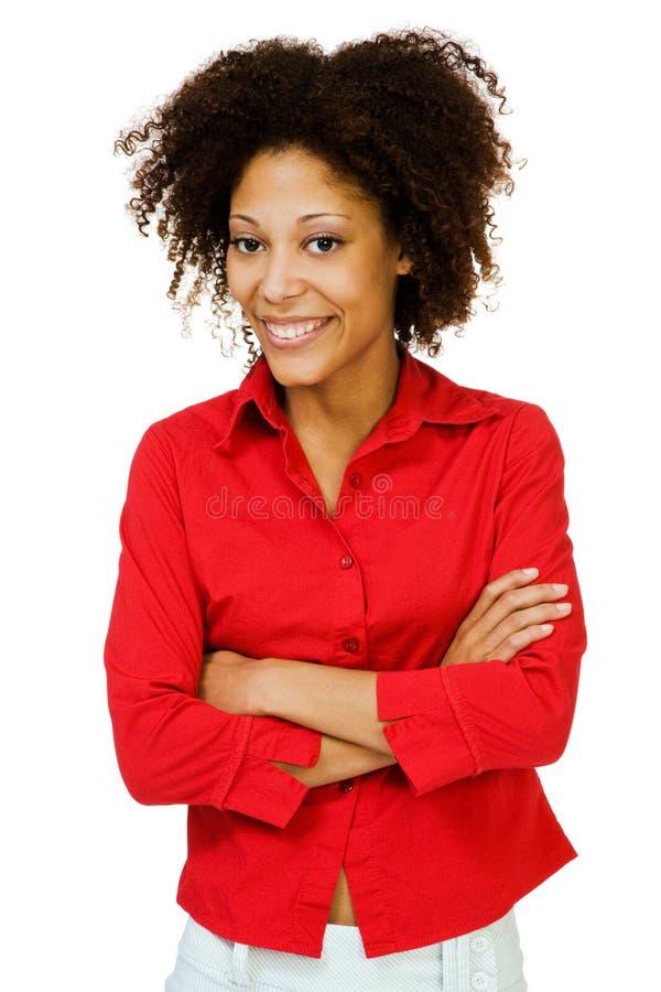 妇女摆在的纵向 免版税库存照片