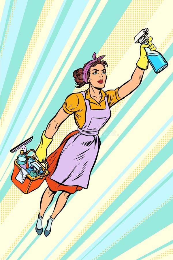 妇女擦净剂,超级英雄飞行 服务 皇族释放例证