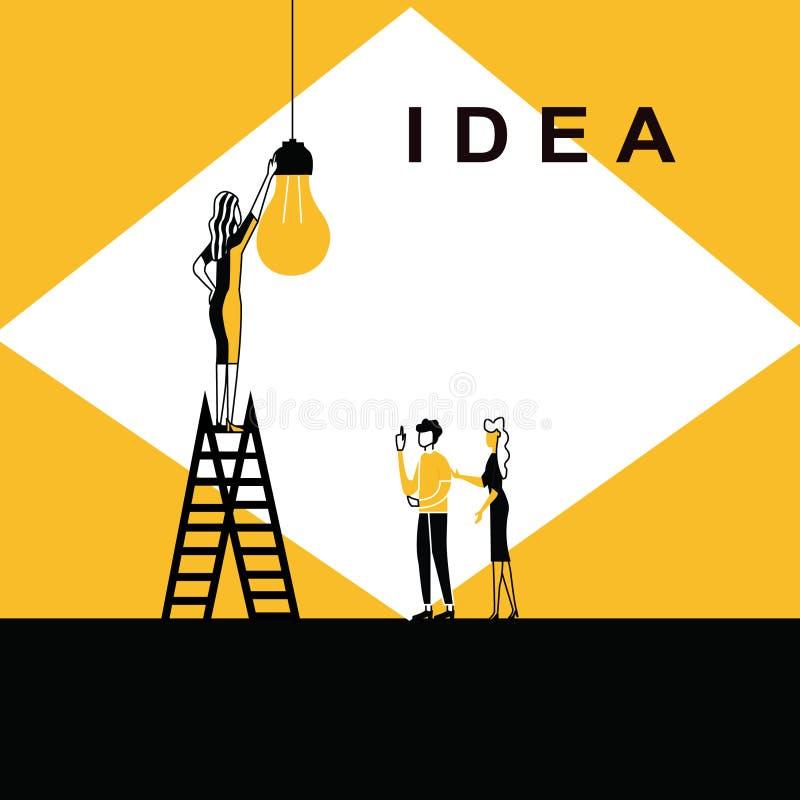 妇女改变的想法电灯泡 皇族释放例证