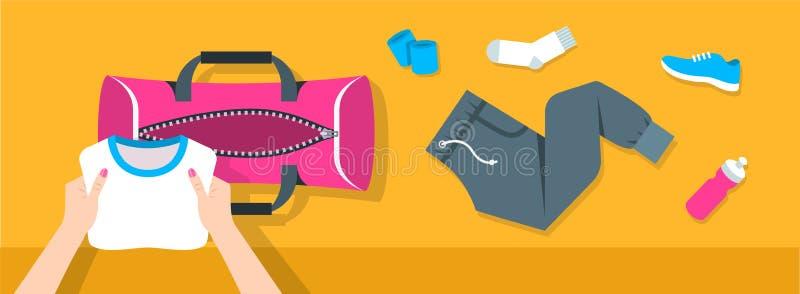 妇女放健身材料入体育袋子传染媒介横幅 皇族释放例证