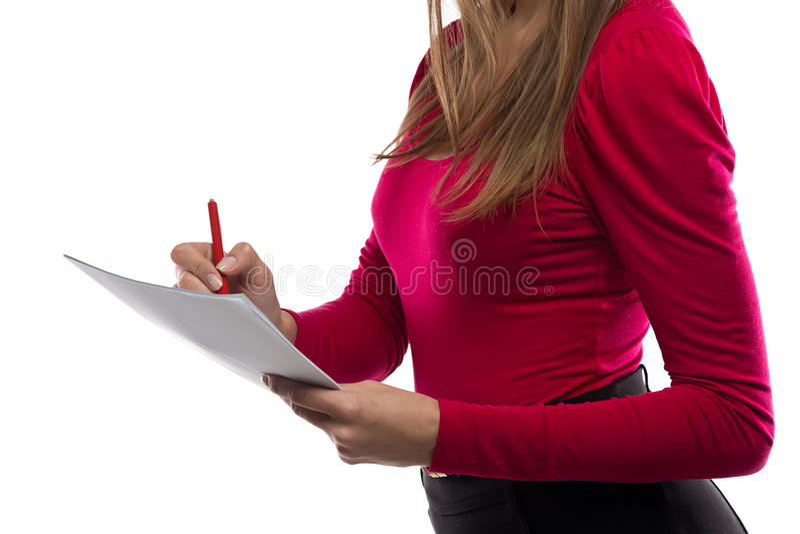 妇女文字笔记照片  库存图片