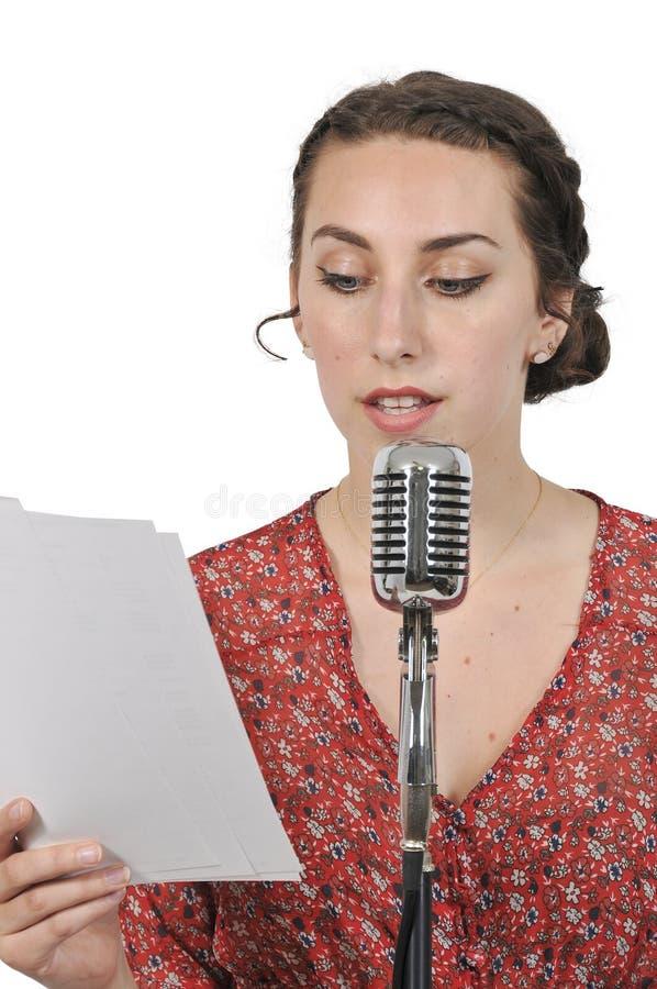 妇女无线电戏剧 免版税图库摄影