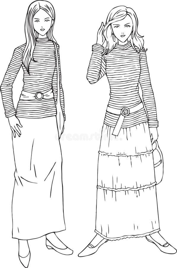妇女时尚剥离衬衣线艺术例证 库存例证