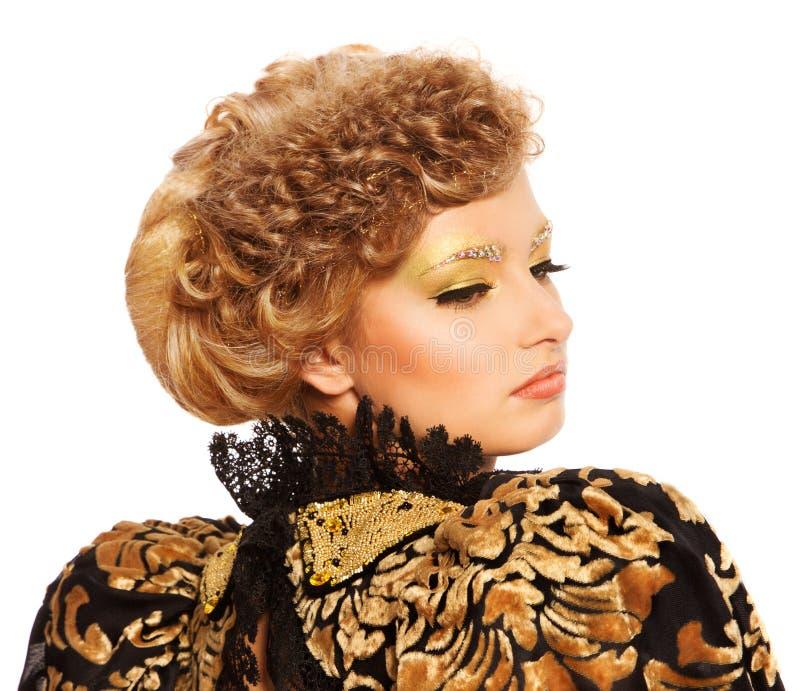 妇女时尚发型画象 库存图片