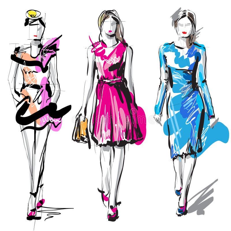 妇女时装模特儿 草图 库存例证