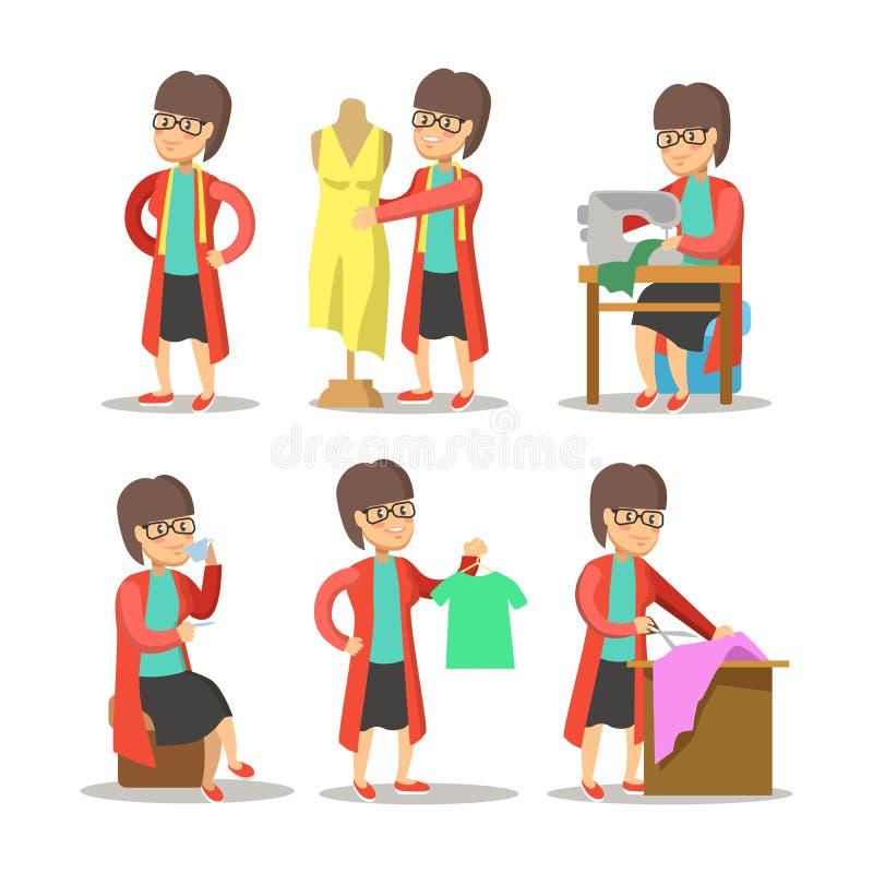 妇女时装设计师动画片 有时装模特的裁缝 库存例证