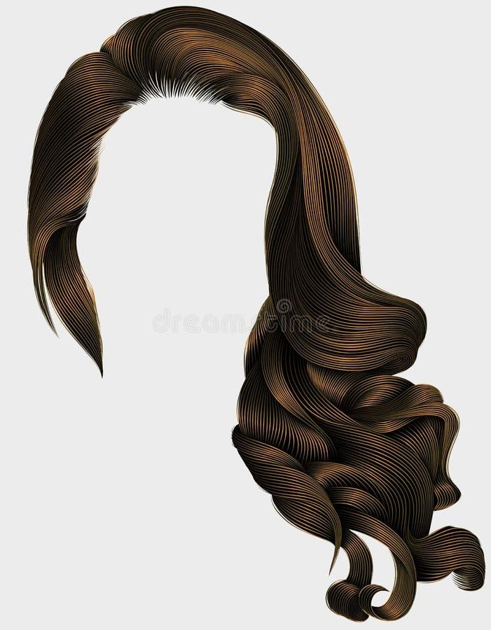 妇女时髦长的卷曲深色的头发假发褐色 减速火箭的样式 向量例证