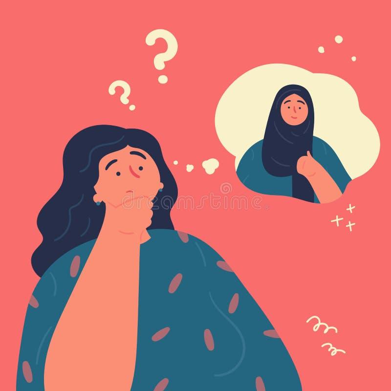 妇女是否认为佩带她的hijab 库存例证
