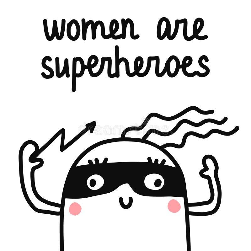 妇女是在一个面具的超级英雄手拉的例证蛋白软糖与闪电在印刷品海报T恤杉的一只手上 向量例证