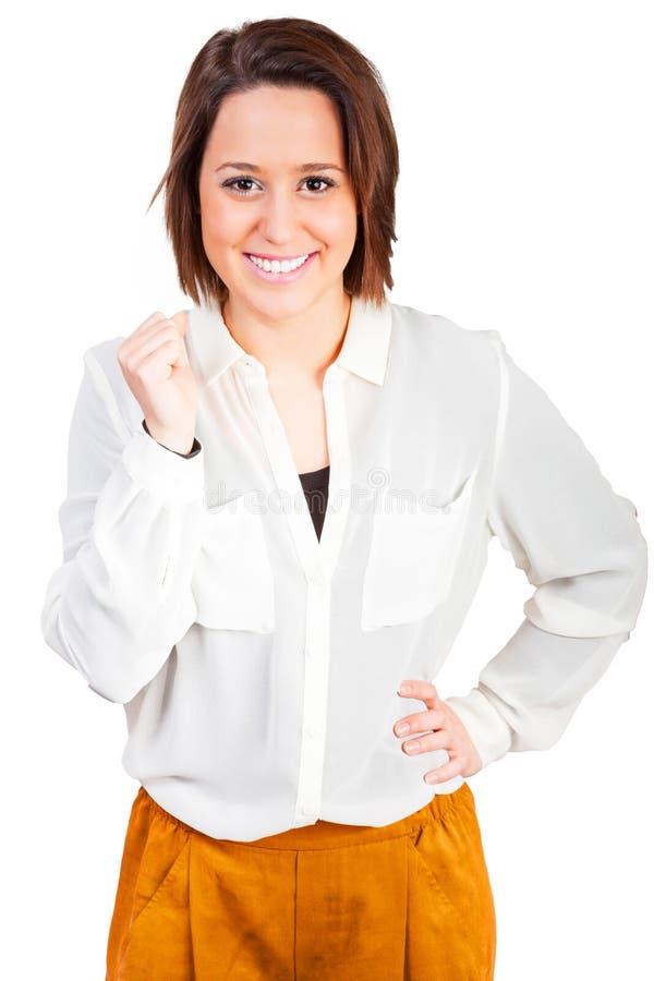 妇女是愉快的关于她的成功 库存图片