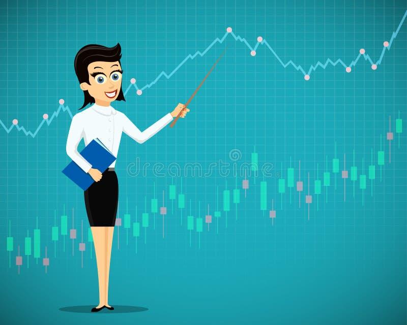 妇女显示财政图表和图 exchan的股票市场 皇族释放例证
