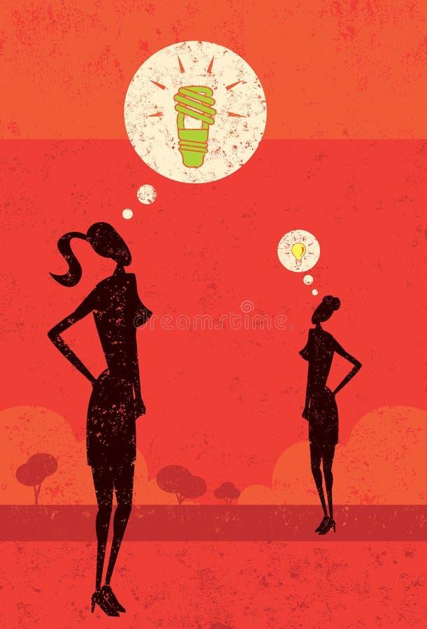 妇女有一个绿色想法 向量例证