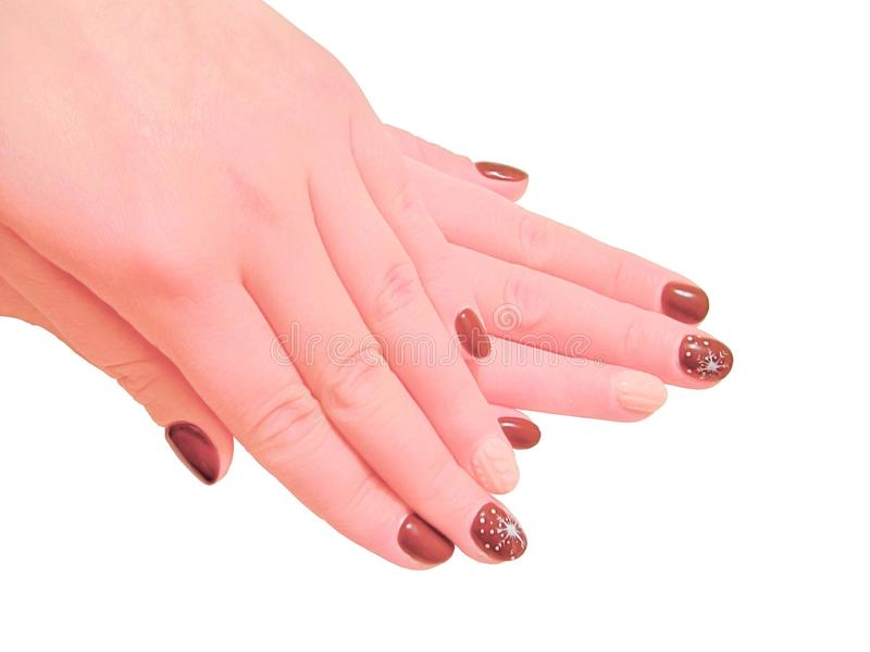妇女有修指甲的` s手 图库摄影
