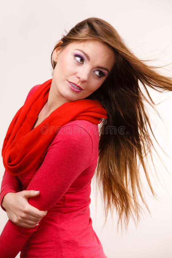 妇女有头发吹的时尚女孩 库存图片