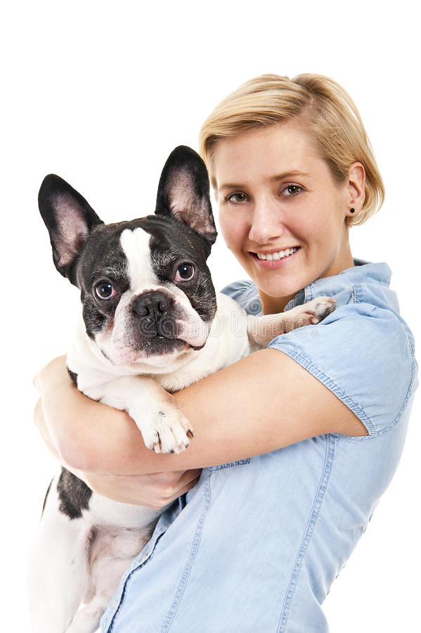 Download 妇女有她的dogover白色背景 库存照片. 图片 包括有 伴随, 人们, 藏品, 滑稽, 线索, 皮带 - 30339046