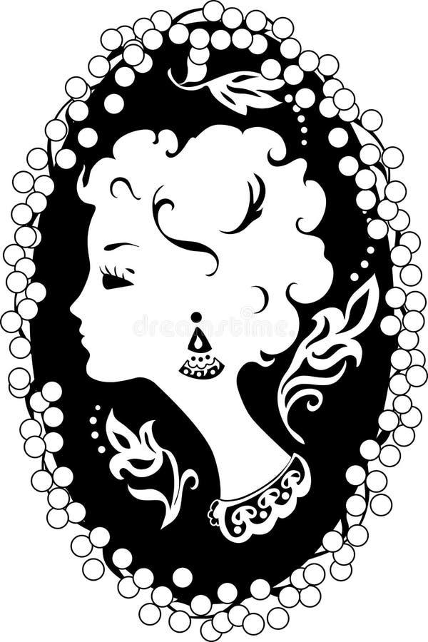 妇女有浮雕的贝壳葡萄酒外形 向量例证