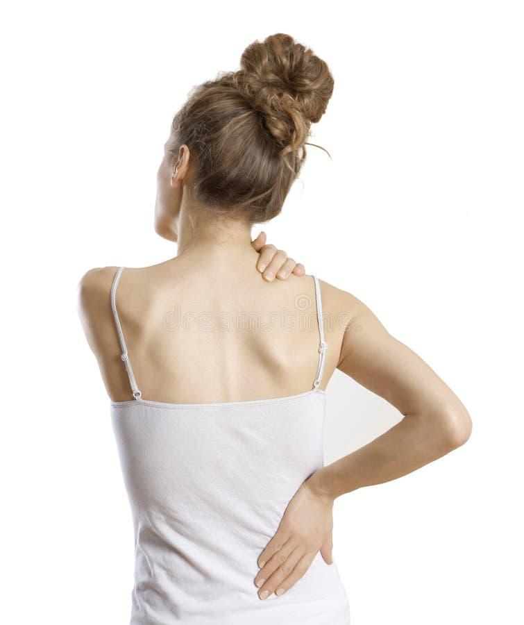 妇女有背部疼痛 免版税库存照片