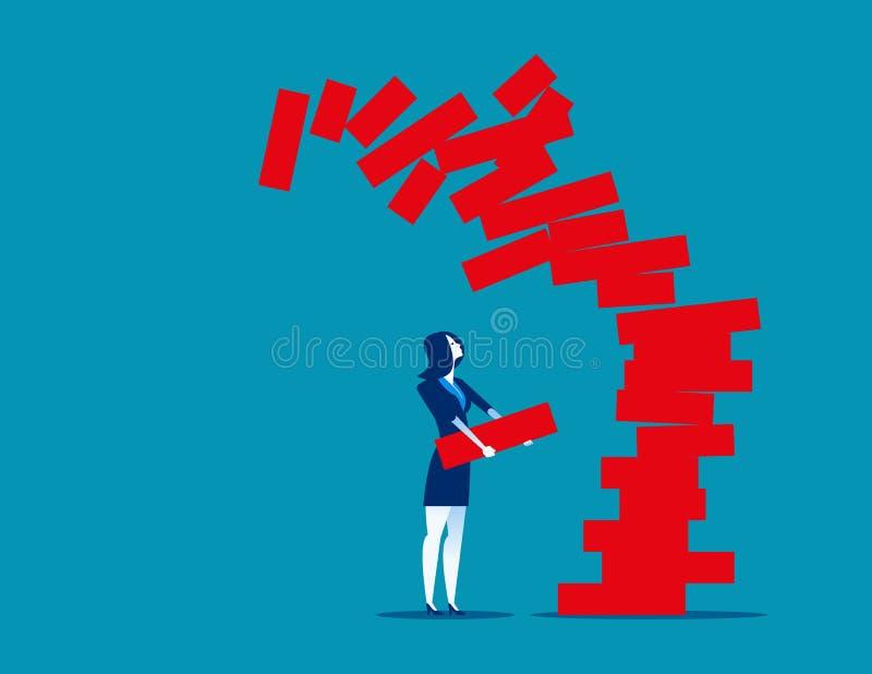 妇女有计划风险和战略在事务 Conceut企业传染媒介例证 库存例证