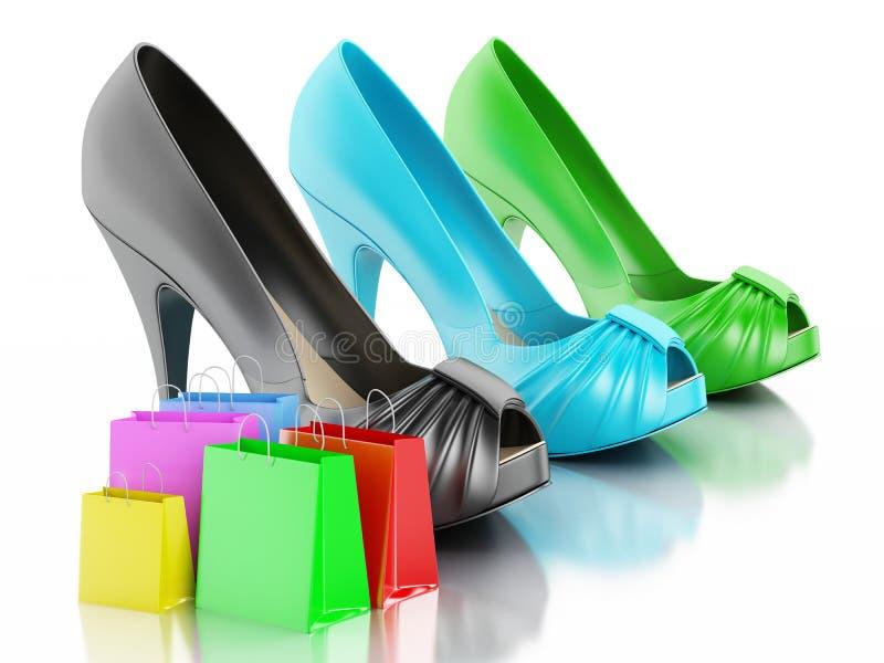 妇女有购物袋的3d高跟鞋鞋子 库存例证