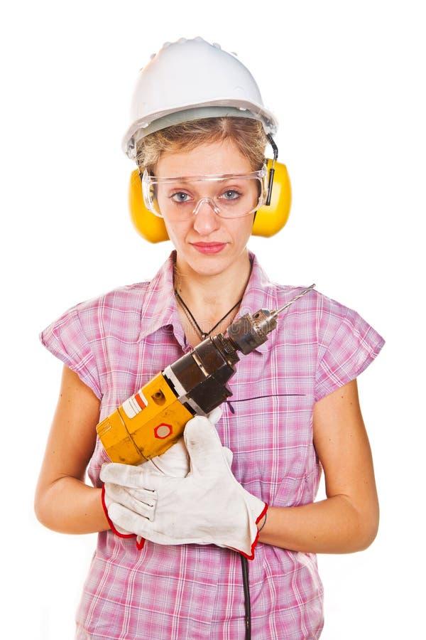 妇女木匠 免版税库存图片