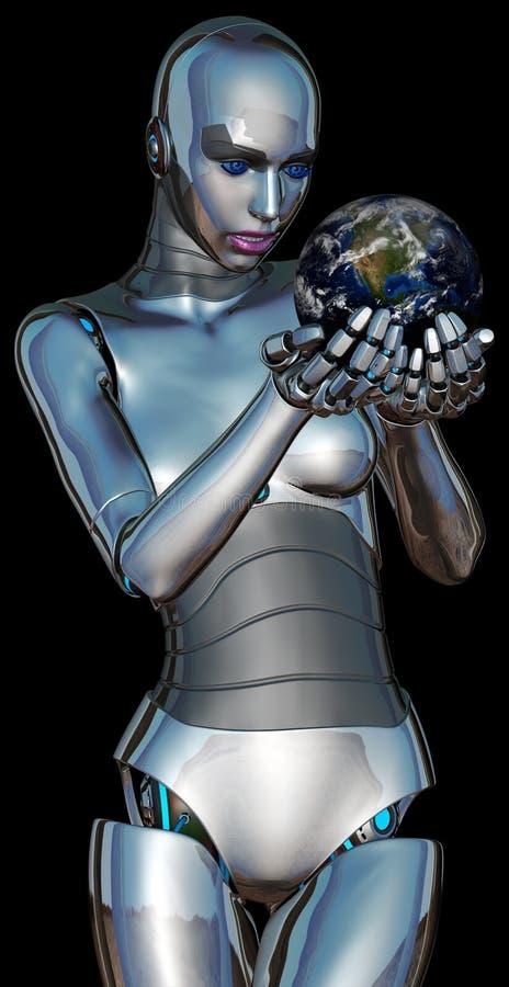 妇女机器人靠机械装置维持生命的人行星地球 皇族释放例证