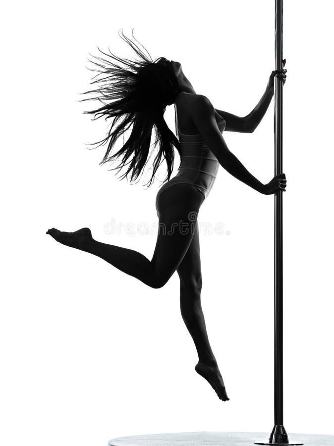 妇女杆舞蹈演员剪影 免版税库存图片