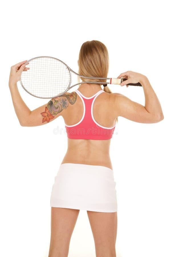 妇女桃红色胸罩后面网球 库存图片