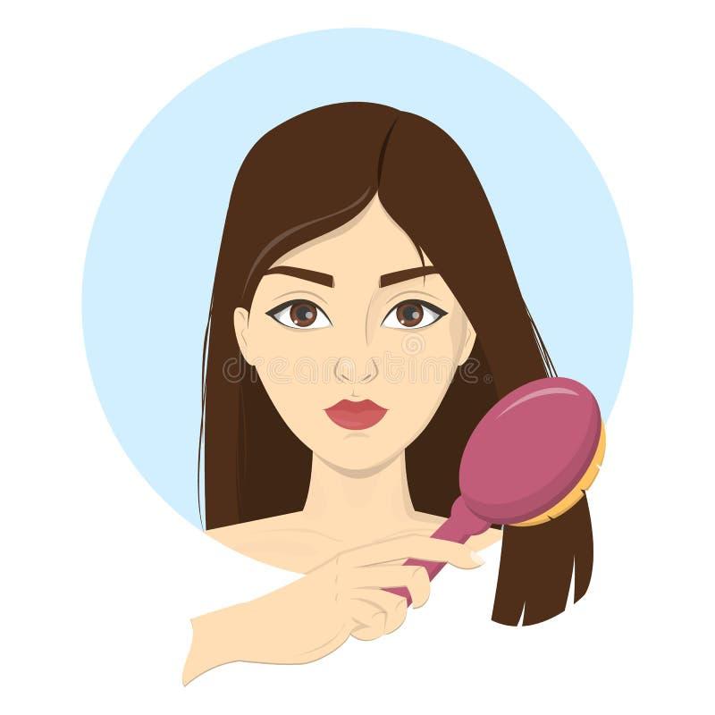 妇女梳她的有刷子的头发 向量例证