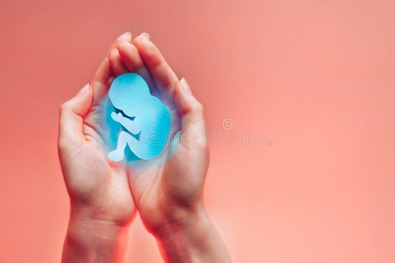 妇女棕榈一起按了并且保留与蓝色轻的保护或死亡的纸胚胎 在左边的手 轻的珊瑚 库存照片