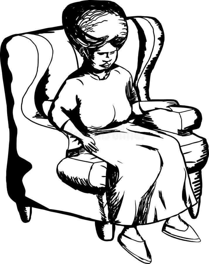妇女概述椅子的 向量例证