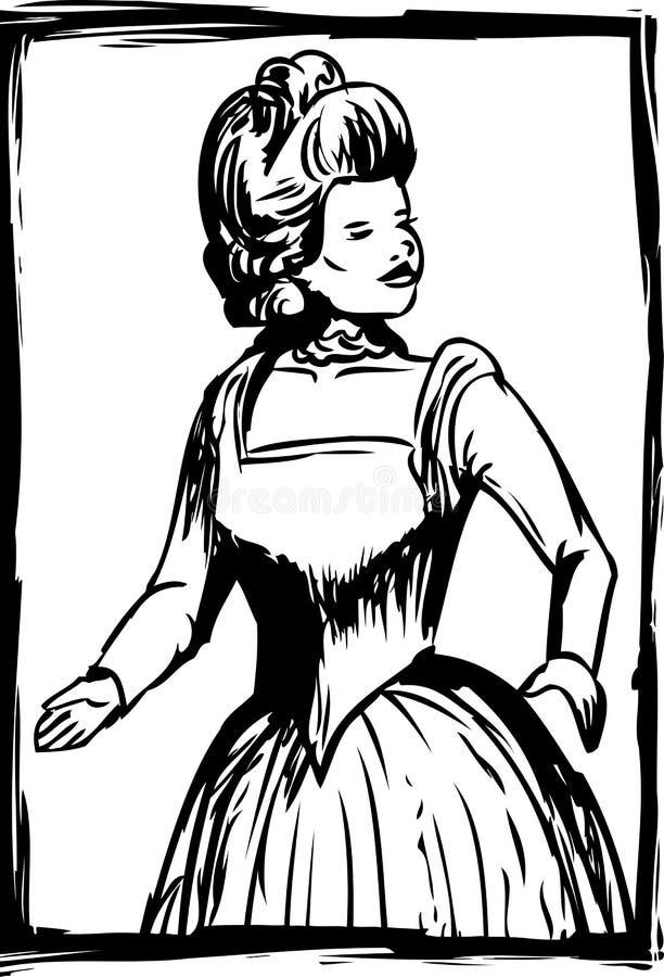 妇女概述18世纪礼服的 皇族释放例证