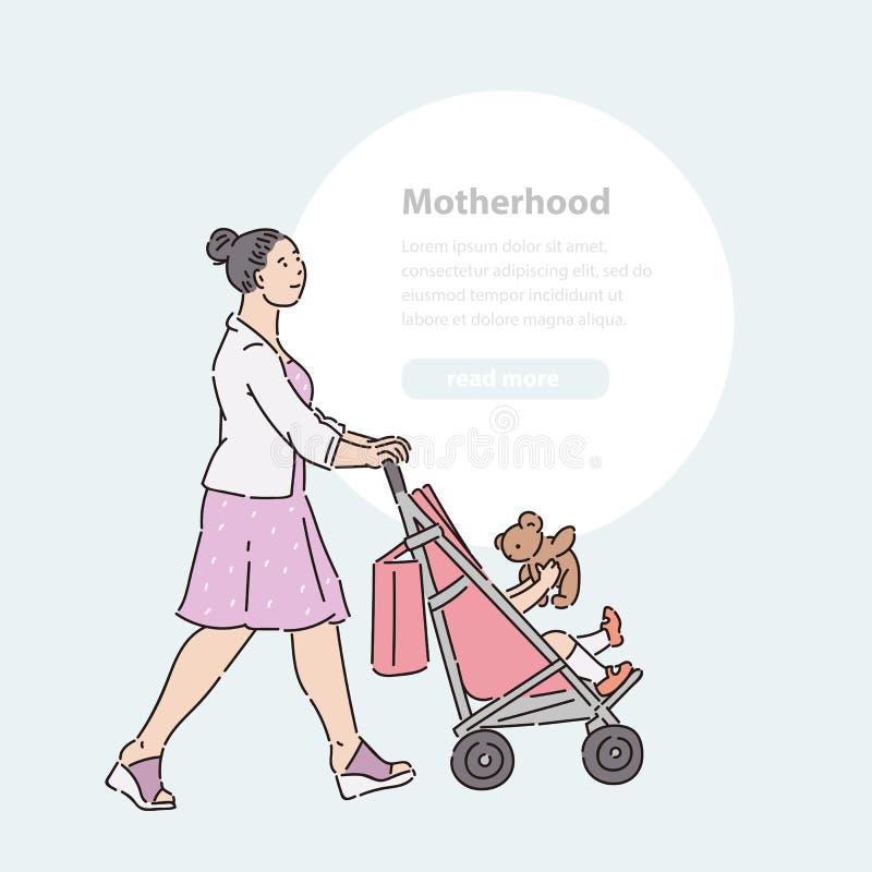 妇女步行沿着向下有婴孩的街道婴儿推车的 步行夏时传染媒介的线艺术例证横幅妈妈孩子和 皇族释放例证