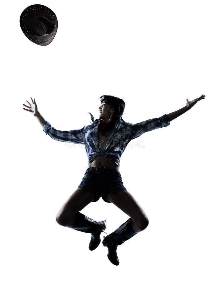 妇女母牛女孩舞蹈家愉快的跳舞乡村音乐 免版税库存照片