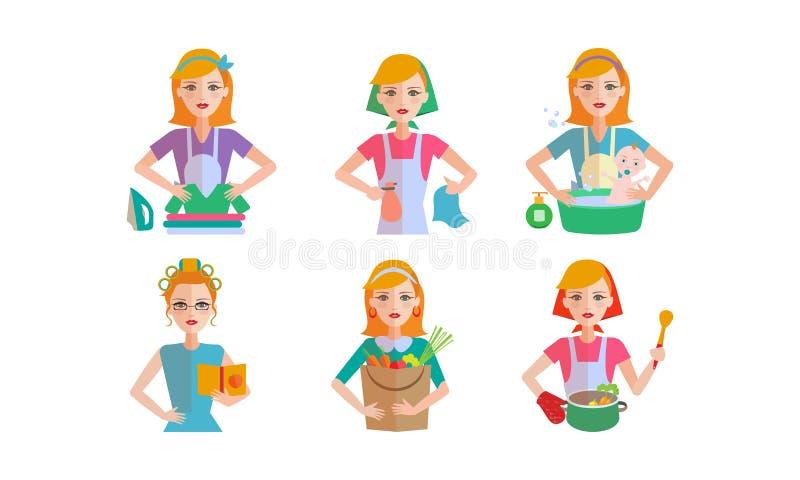 妇女每日惯例集合,做不同的国内工作的少妇导航在白色背景的例证 向量例证