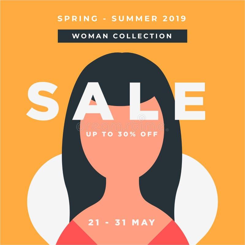 妇女汇集春天夏天 大销售特别海报提议 E 30%网的特价设计 库存例证