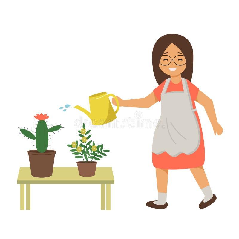 妇女浇灌的花用从一把喷壶的水 女孩照料家庭植物,在罐的花 皇族释放例证