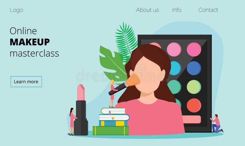 妇女测试在发廊的皮肤护理产品 向量例证