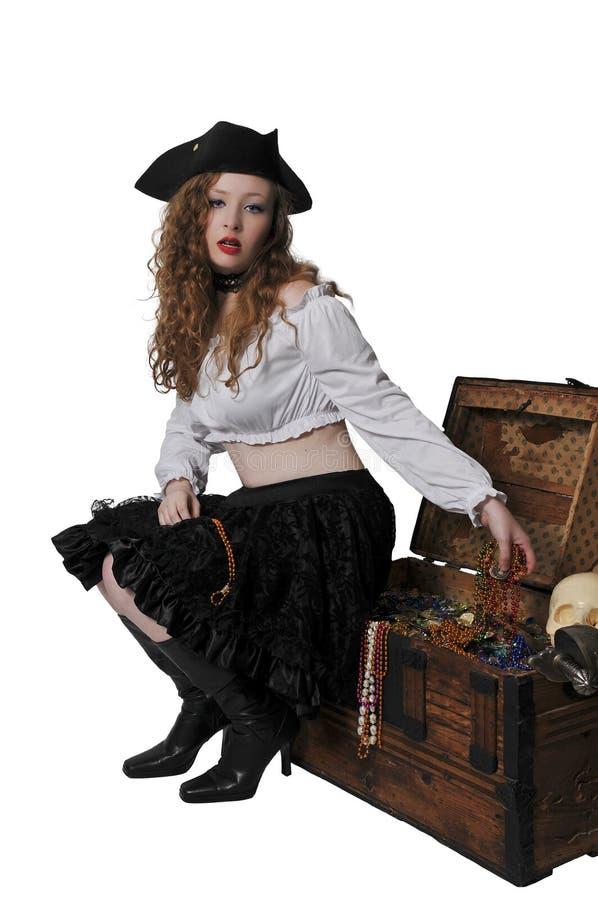 妇女海盗开头胸口 免版税库存图片