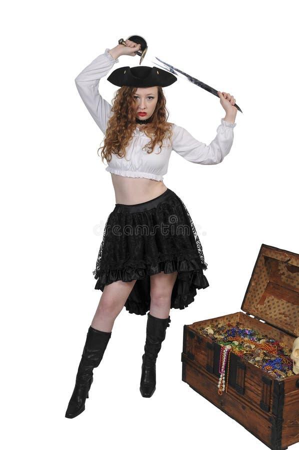 妇女海盗开头胸口 免版税图库摄影