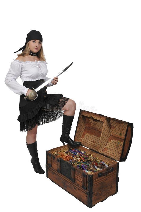 妇女海盗开头胸口 库存图片