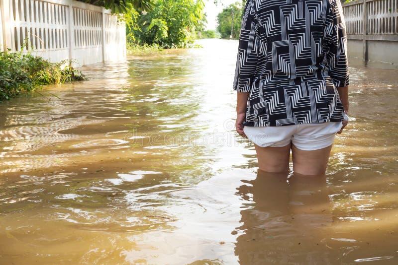 妇女涉过洪水在她的房子里 在她的腿的特写镜头 看法behin 库存照片