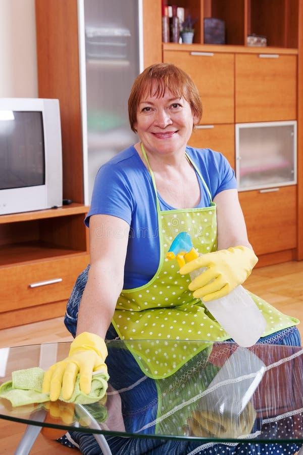 妇女清洗房子 免版税图库摄影