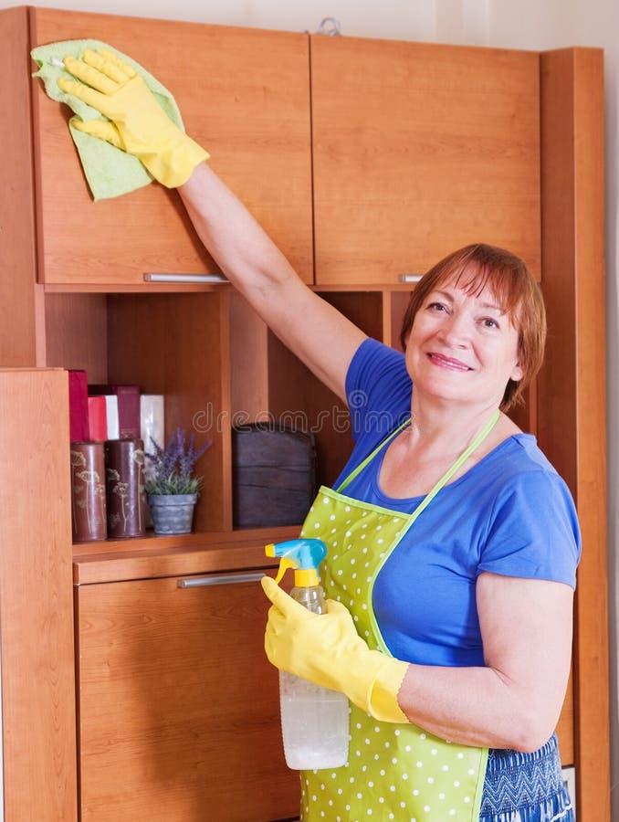 妇女清洗房子 免版税库存照片