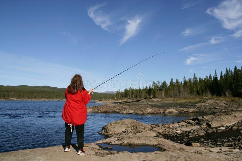妇女渔 图库摄影