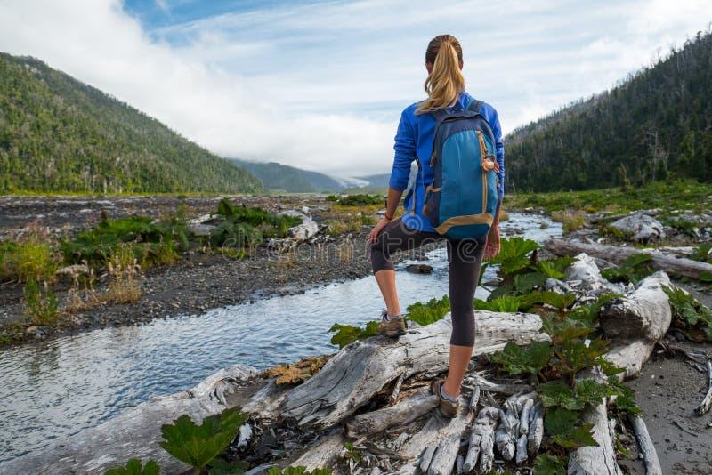 妇女游人远足者 免版税库存照片