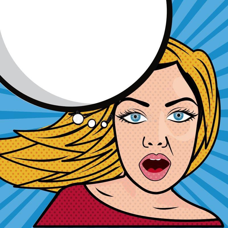 妇女漫画 库存例证