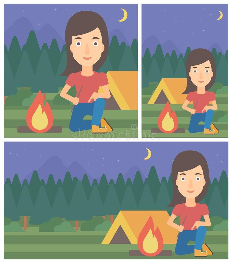 妇女点燃营火传染媒介例证 库存例证
