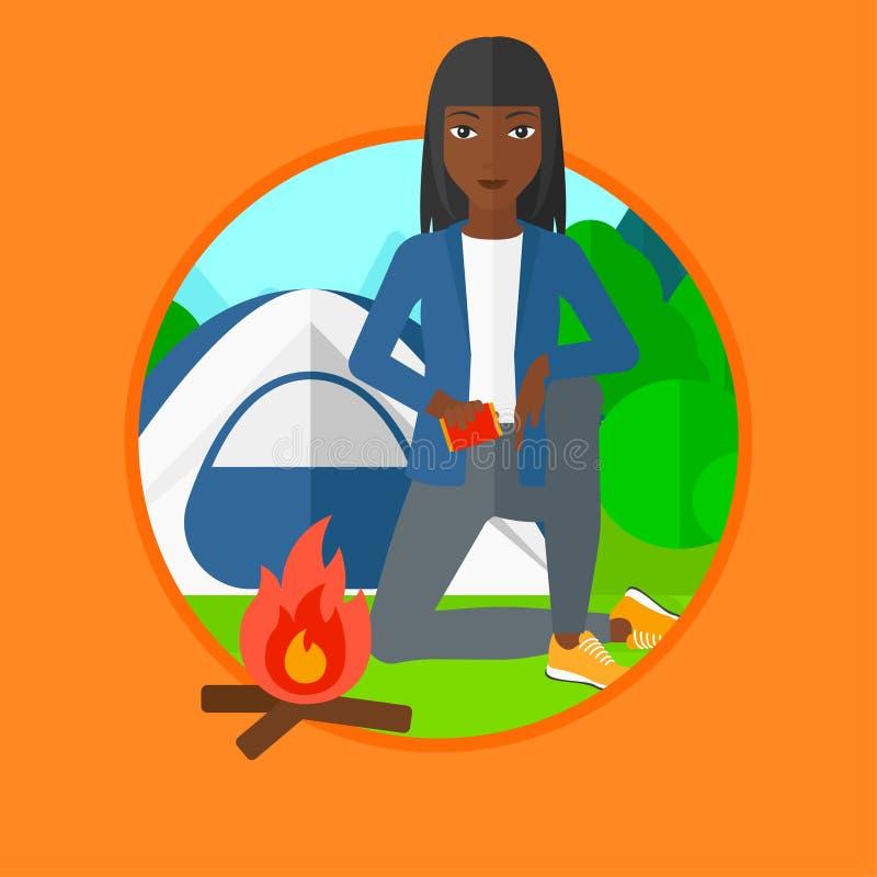 妇女点燃营火传染媒介例证 向量例证