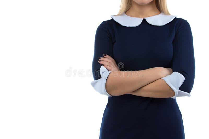 妇女照片有横渡的胳膊的 库存照片